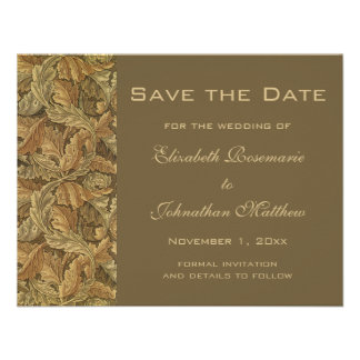 Antique Victorian Warm Autumn Leaves Save the Date Personalized Invitations