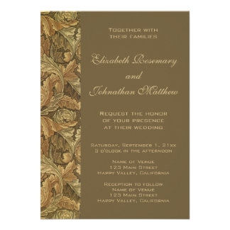 Antique Victorian Warm Autumn Leaves Wedding Personalized Invitations