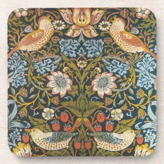Antique Victorian William Morris Flowers Birds Beverage Coaster