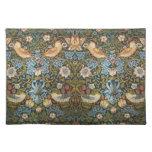 Antique Victorian William Morris Flowers Birds Cloth Placemat