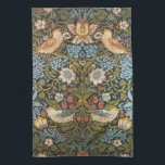 """Antique Victorian William Morris Flowers Birds Kitchen Towel<br><div class=""""desc"""">Vintage Victorian William Morris Pre-Raphaelite textile pattern titled Strawberry Thief,  1883. This design features a floral background with blooming spring flowers,  fruit,  wild strawberries and two pairs of birds on a dark blue background. The berry thieves are thrushes.</div>"""