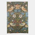 Antique Victorian William Morris Flowers Birds Kitchen Towels