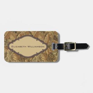 Antique Victorian William Morris Leaf Leaves Bag Tag