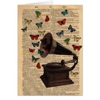 Antique Victrola Butterflies Dictionary Notecard