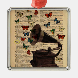 Antique Victrola Butterflies Dictionary Ornament