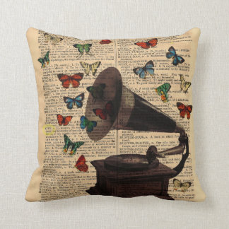 Antique Victrola Butterflies Dictionary Pillow