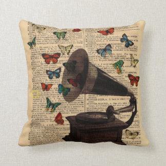 Antique Victrola Butterflies Dictionary Pillow
