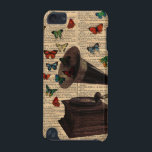 "Antique Victrola Butterflies IPod Touch Case<br><div class=""desc"">Antique vintage Victrola on an antique vintage dictionary page. The word music is highlighted on the dictionary page. Streaming and flying out of the antique Victrola are a lot of colorful butterflies also done in a vintage style or antique butterfly illustration style.</div>"