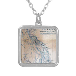 Antique Vietnamese map Silver Plated Necklace