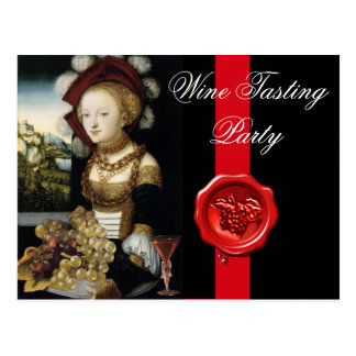ANTIQUE VINEYARD GRAPES AND WINE ,RED WAX SEAL POSTCARD