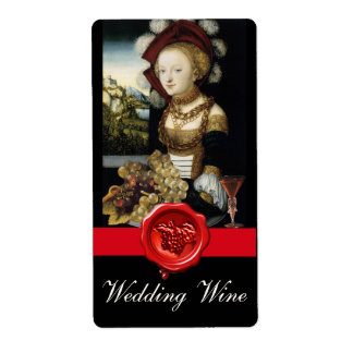 ANTIQUE VINEYARD GRAPES  RED WAX SEAL WEDDING WINE LABEL