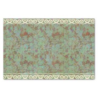 """Antique,vintage,aqua,floral,lace,pattern,victorian 10"""" X 15"""" Tissue Paper"""