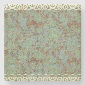 Antique,vintage,aqua,floral,lace,pattern,victorian Stone Coaster