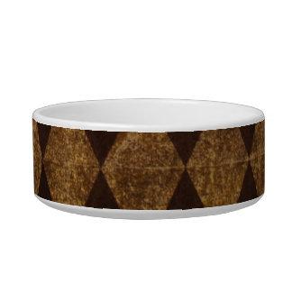 Antique vintage argyle diamonds brown pet dog bowl