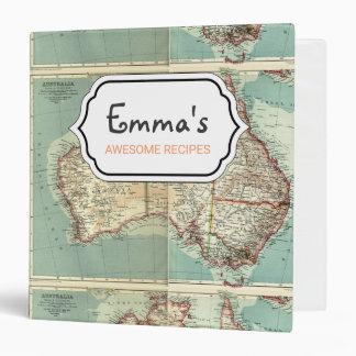 Antique Vintage Australian continent detailed map Binder