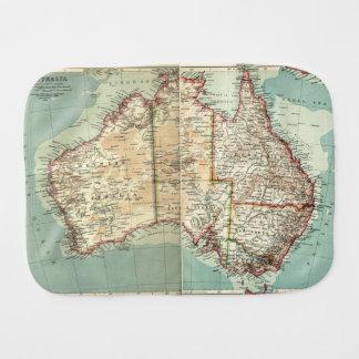 Antique Vintage Australian continent detailed map Burp Cloth