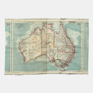 Antique Vintage Australian continent detailed map Towel