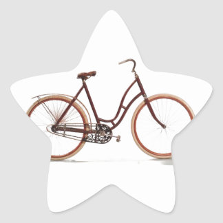 Antique Vintage Bicycle Red Design Style Star Sticker