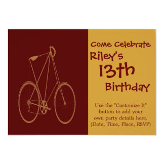 "Antique Vintage Bicycle Red Tan Bike Cyclist 5"" X 7"" Invitation Card"
