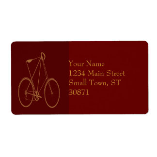 Antique Vintage Bicycle Red Tan Bike Cyclist Shipping Labels