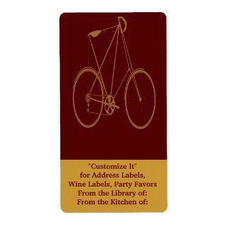 Antique Vintage Bicycle Red Tan Bike Cyclist Shipping Label