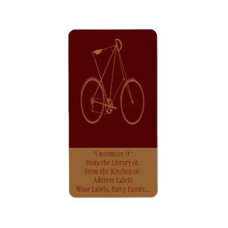 Antique Vintage Bicycle Red Tan Bike Cyclist Personalized Address Label