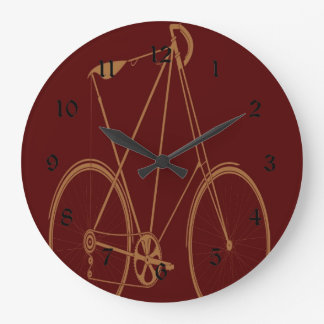 Antique Vintage Bicycle Red Tan Bike Cyclist Large Clock
