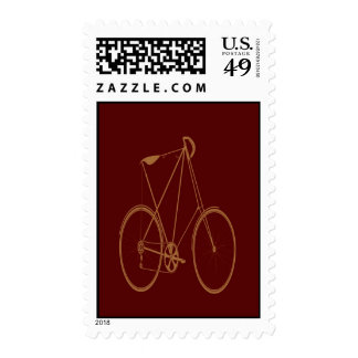 Antique Vintage Bicycle Red Tan Bike Cyclist Stamps