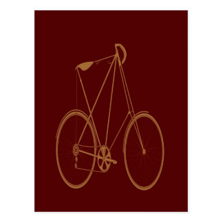 Antique Vintage Bicycle Red Tan Bike Cyclist Post Card