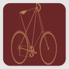 Antique Vintage Bicycle Red Tan Bike Cyclist Sticker