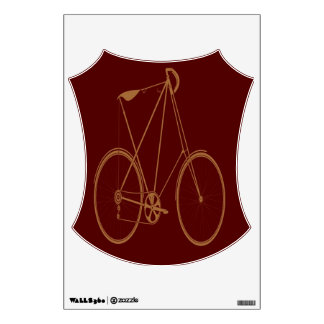 Antique Vintage Bicycle Red Tan Bike Cyclist Wall Graphics