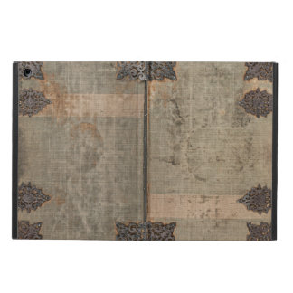 Antique vintage book cover with metal hinges iPad air cover