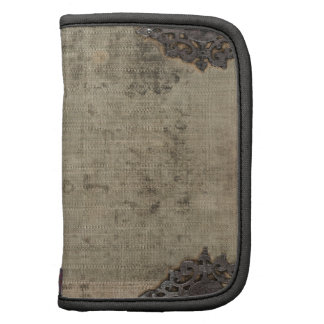 Antique vintage book cover with metal hinges organizers