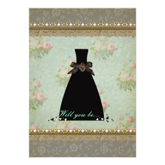 Antique Vintage Bridesmaid Invitation