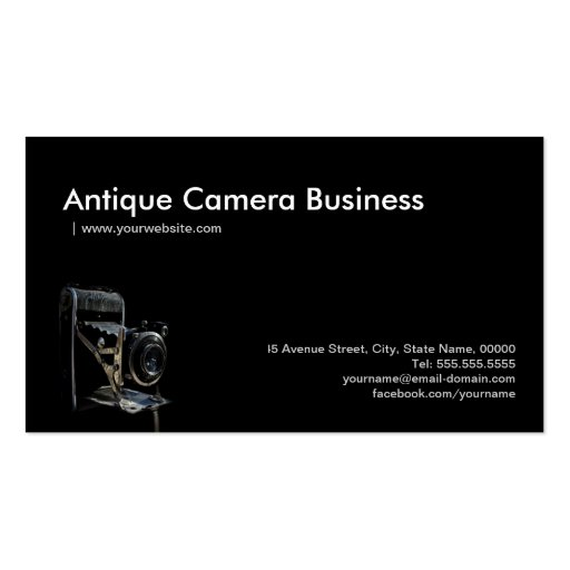 Antique Vintage Camera Store - Photographer Business Card Templates (back side)