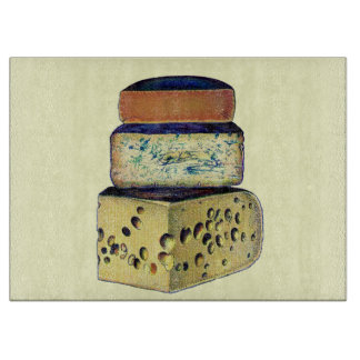 Antique Vintage Cheese Selection Cutting Board
