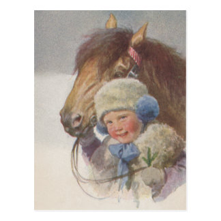 Antique Vintage childs Memory Pony Horse Postcard