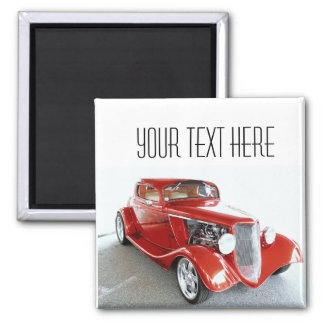 Antique Vintage Collector RED car 2 Inch Square Magnet