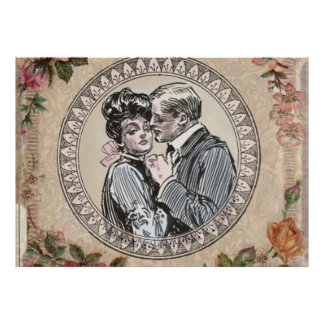 Antique Vintage Couple Roses Girly Poster