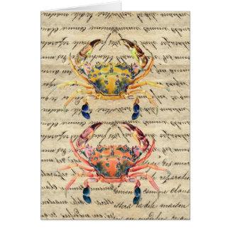 Antique Vintage crab illustration Stationery Note Card