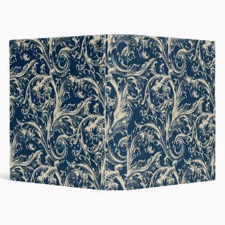 Antique Vintage Dark Blue Fabric Binder