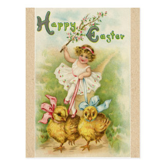 Antique Vintage Easter girl & chicks greetings Postcard