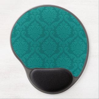 Antique Vintage Elegant Aqua Blue Damask Gel Mouse Pads
