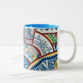 Antique Vintage French Floral Ceramic Design Blue Two-Tone Coffee Mug