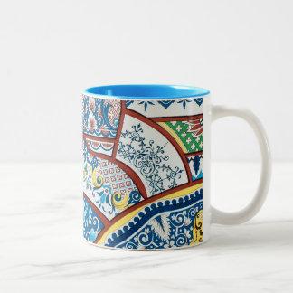 Antique Vintage French Floral Ceramic Design Blue Two-Tone Coffee Mug