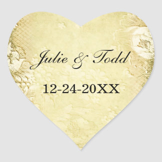 Antique Vintage Gold Floral Save The Date Wedding Heart Sticker