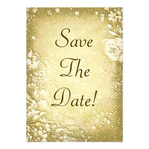 Antique Vintage Gold Floral Save The Date Wedding 5x7 Paper Invitation Card
