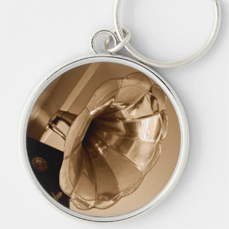 Antique Vintage Gramophone Gifts Music Lovers Silver-Colored Round Keychain