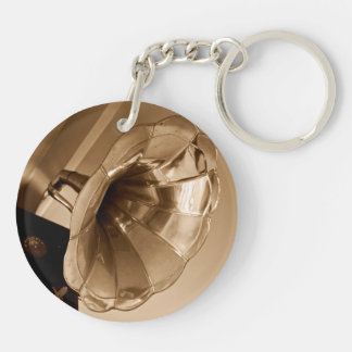 Antique Vintage Gramophone Gifts Music Lovers Double-Sided Round Acrylic Keychain