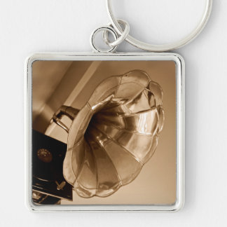 Antique Vintage Gramophone Gifts Music Lovers Silver-Colored Square Keychain